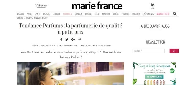 Marie France parle de Tendance Parfums